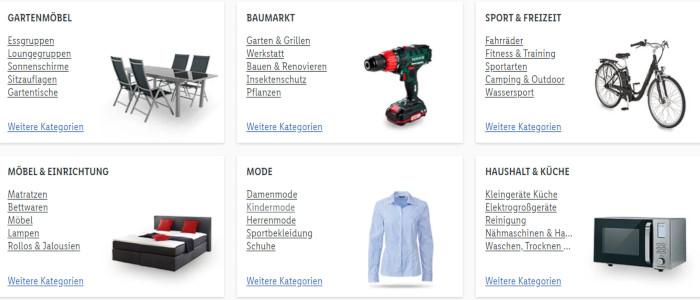 Lidl Online Produkt Categories