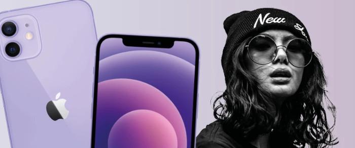Frau und lila iPhone